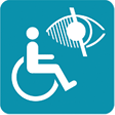 Image of a person in a wheelchair with visibility options icon