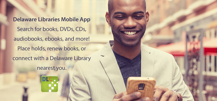 Picture of a man using the Delaware Libraries app